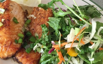 Salmon with Kale & Avocado Slaw Salad